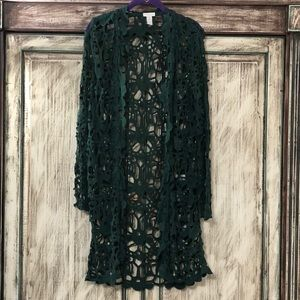 Chico's Woven Hunter Green Duster